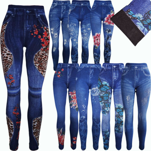 Thermo Damen Mädchen  Leggings Hose mit Motiv  Jeans Look Treggins 34-40