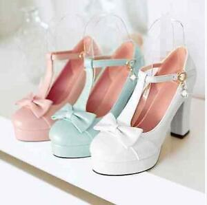 f024c1716b3 womens shoes pumps high chunky heel bow-knot T-strap round toe ...