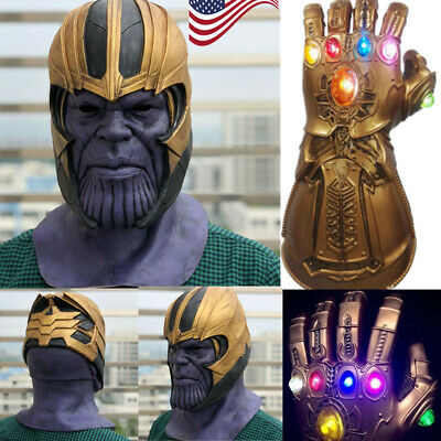 US Thanos Infinity Gauntlet LED Light Gloves Full Head Mask Cosplay Fans Prop