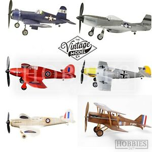 Vintage-Model-Co-Balsa-Wood-Plane-Kits-Spitfire-Messerschmitt-Hurricane-Mustang