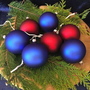 Christbaumkugel aus Glas + rot & blau + Weihnachtskugel + Handarbeit aus Lauscha