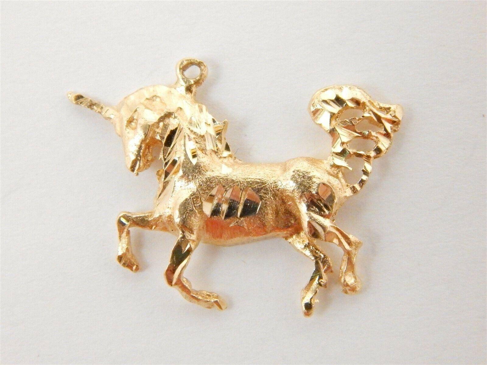 14k Yellow  gold Diamond Cut Unicorn Pendant   2.2 grams
