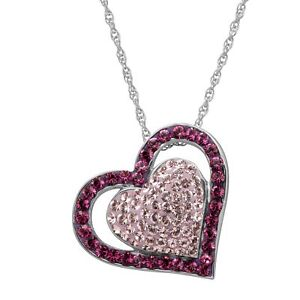 Crystaluxe Double Heart Pendant with Purple Swarovski Crystals Rhodium On Silver