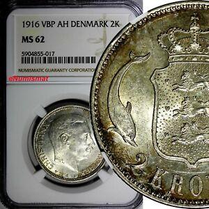 1916(h) VBP; AH Denmark 2 Kroner - NGC Graded Silver KM