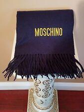 MOSCHINO Italy 100% Lambwool Scarf, Navy, Unisex