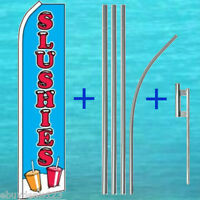 SLUSHIES FLUTTER FLAG + 15' TALL POLE MOUNT KIT Feather Swooper Banner Food 1811
