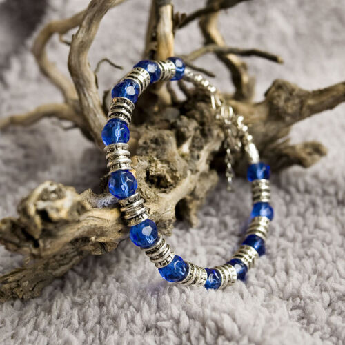 Joli Bracelet Style Tibétain en Argent Tibétain et Verre Coloré