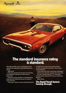 1971 Plymouth Road Runner Original Advertisement Print Art Car Ad J582