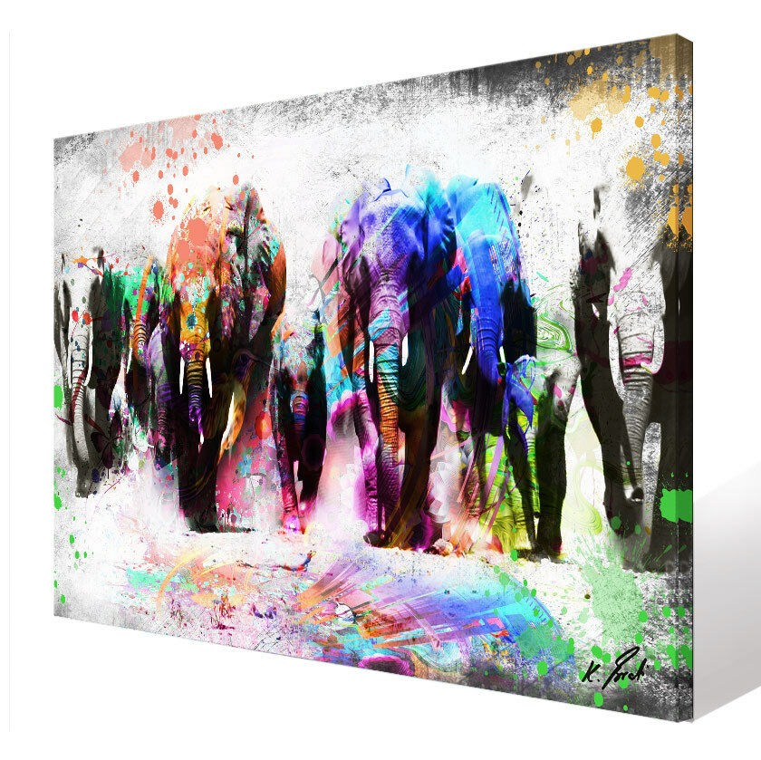 Wandbilder Elefant Tiere Bild Leinwand Abstrakte Kunst Bilder Kunstdruck D1346