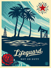"""Lifeguard not on Duty Screen Print Shepard Fairey Signed 18"""" x 24"""" OBEY"""