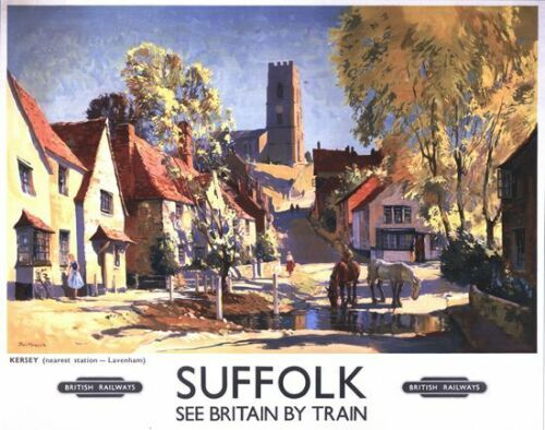 Vintage British Rail Kersey Suffolk Railway Poster A3//A2//A1 Print