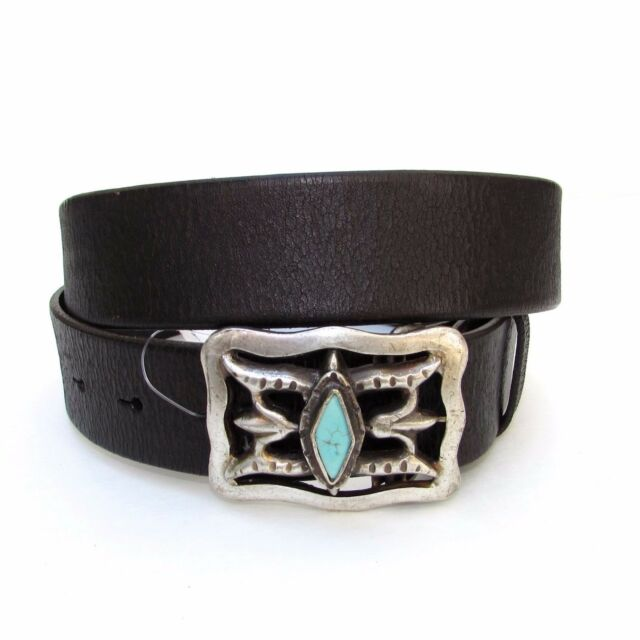 437202f46de1 Ralph Lauren Leather Western Cutout Belt Turquoise Stone Buckle  350 NWT M