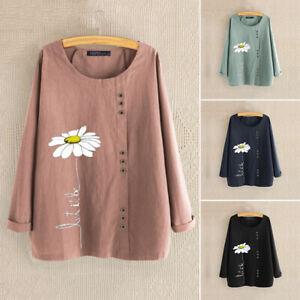 ZANZEA-S-5XL-Women-Long-Sleeve-Shirt-Tops-Flower-Print-Casual-Blouse-Jumper-Plus