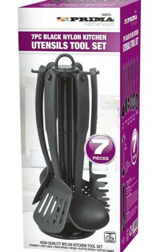 7PC conjunto de herramientas de Utensilios de Cocina de nylon negro incluso soporte ANTIADHERENTES COCINA NUEVO