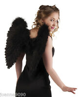 Large 50cm Black Gothic Fairy Feather Angel Wings Hen Night Fancy Dress Costume
