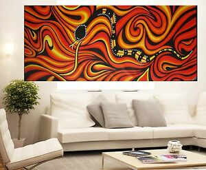 Huge Aboriginal Australia Art Oil Painting Snake By Jane Crawford