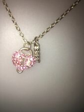 Women's Pink Encrusted Charm Necklace.