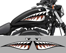 2 X DENTS REQUIN SHARK CHOPPER RAT'S 50cm AUTOCOLLANT STICKER MOTO BIKER SA153