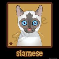 Siamese Cat Cartoon T-shirt Tee - Men Women Youth Tank Short Long - White, Lilac