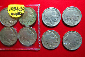 1934-1937-LOT-of-4-INDIAN-HEAD-BUFFALO-NICKELS-Sequential-034-EF-034-Condition