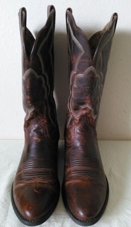 Great ARIAT Marroneee lady's Cowboy leather stivali blu Marroneee bianca stitch Dimensione 9.5 B