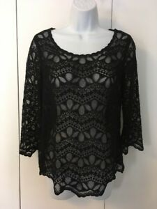 c930538d77ab7d H M Divided Long-Sleeve Black Lace Top Scoop Neck Size 6
