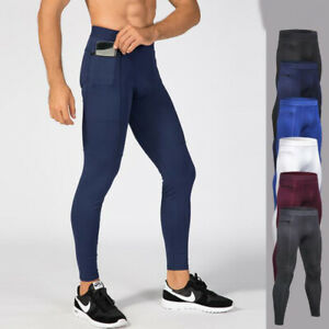 Men/'s Compression Pantalon Sport Base Couches Running Gym Leggings Long Wicking