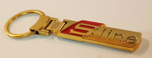 24ct GOLD PLATED GENUINE AUDI S-LINE KEYRING 24K A1 A3 A4 A5 A6 Q3 Q5 Q7