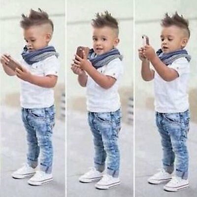 2pcs Toddler Kids Baby Boy T-shirt Top+Jeans Pants Trousers Clothes Outfits Sets