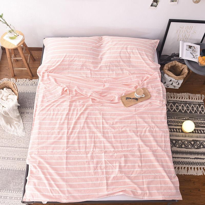 Stone Washed Cotton Stripes Print Travel Hotel Sheet Sleeping Bag Liner