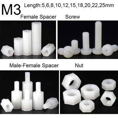 300X Plastic Nylon M3 Hex Column Standoff Spacer Screw Nut Assortment Kit PCB