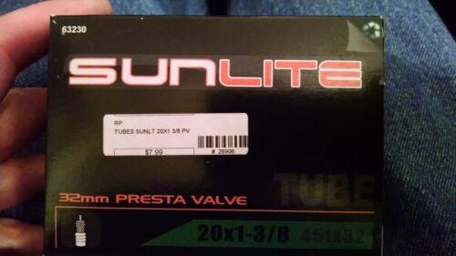 Sunlite 20 x 1-3//8 inner tube 32mm Presta Valve set of 2