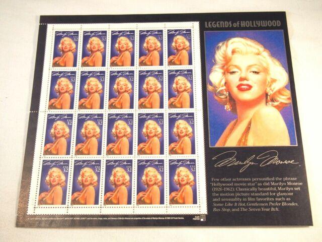 1995 Marilyn Monroe Souvenir Sheet 20- 32¢ stamps Scott 2967 Mint Never Hinged