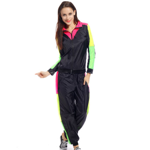 80s Adult Tracksuit Scouser Shellsuit Jacket Trousers Sports Outfit Fancy Dress