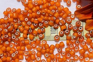 6-0-Antique-Venetian-Made-In-Italy-Light-Orange-White-Heart-Seed-Beads-1oz