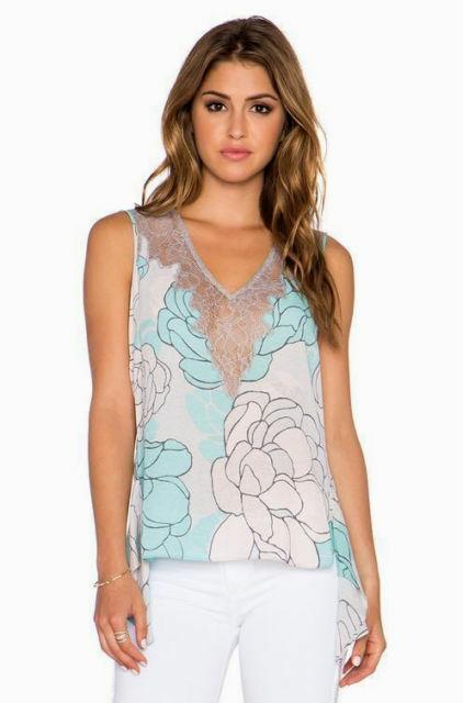 BCBG Max Azria grau Blau Lace Top Blouse XS  Floral