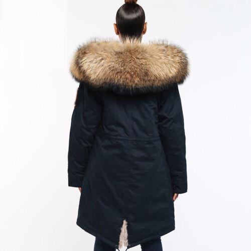 largo de real y abrigo mapache forrado de cuello piel larga chaqueta Parka de Gran de invierno BRTPqc