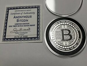 Details about #174 Bitcoin Crypto Proof Coin Anonymous Mint 1 Troy Oz  999  Fine Silver Round