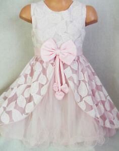 GIRLS-LIGHT-PINK-LEAF-PATTERN-SATIN-BOW-PRINCESS-PAGEANT-PARTY-DRESS-age-7-8