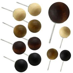 Ohrstecker-Holz-Ohrringe-Holzschmuck-Damen-Kugel-Beige-Braun-Button-Perle-Natur