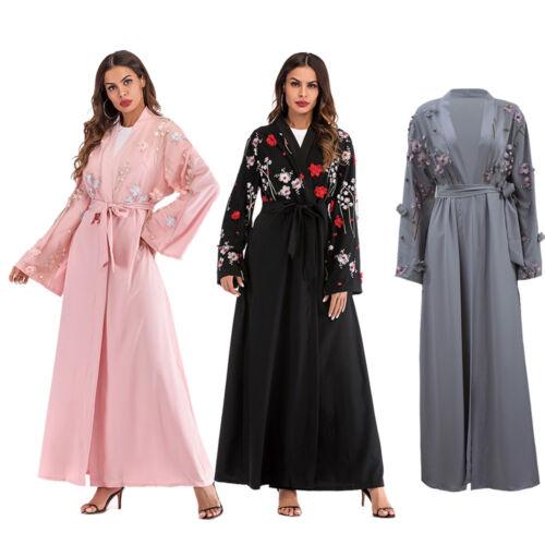Muslim Womens Long Sleeve Dress Open Front Belt Cardigan Flower Robe Dubai Abaya