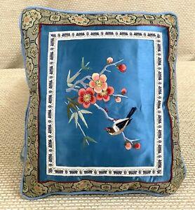 Vintage Cinese Ricamo Cuscino Piccolo Cuscino Blu Seta Uccello Ciliegia Blossom