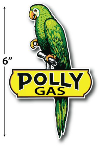 """LEFT FACING 6/"""" POLLY GASOLINE LUBSTER PROJECT DECAL GAS OIL CAN PUMP STICKER"""