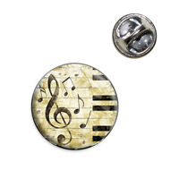 Vintage Piano With Treble Clef And Music Notes Lapel Hat Tie Pin Tack