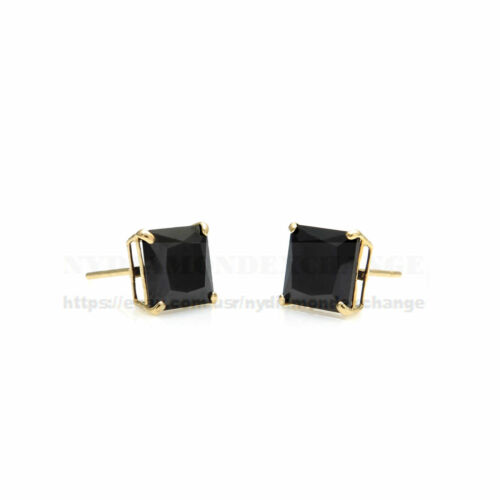 4Ct Princess Created Black Diamond Solitaire Stud Earrings Solid 14K Yellow Gold
