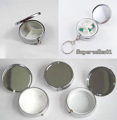 Metal Round Silver Pill Boxes Advantageous Container Medicine Case Small Case