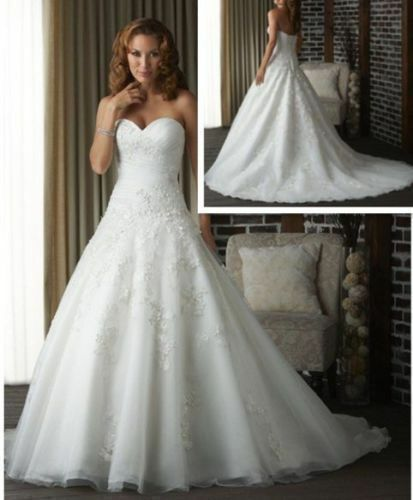 New ALine WhiteIvory Wedding Dress Organza Bridal Gown Stock Size 618