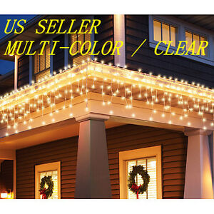 PICK COLOR) CLEAR / MULTI-COLOR 100CT ICICLE CHRISTMAS LIGHTS WHITE ...