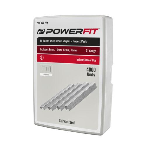 Powerfit 80-SERIES WIDE CROWN STAPLES 4000Pcs 21-Gauge Galvan 6mm 10mm 12mm 16mm