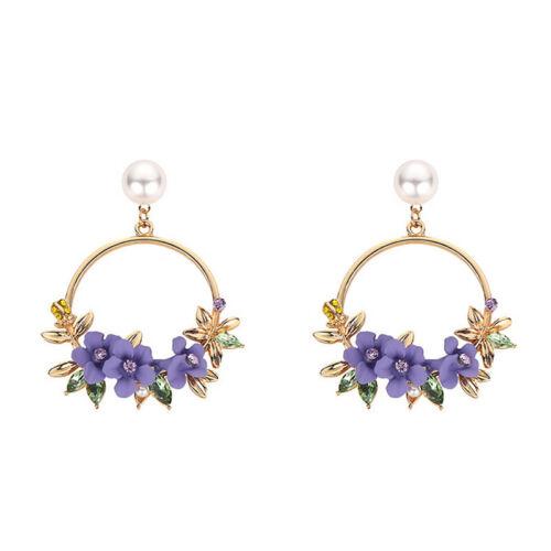 Fashion Women Flower Ear Stud Jewelry Pearl Wreath Pendant Earrings Temperamet
